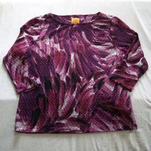 Ruby Rd. Multi-Color 3/4 Length Sleeve Top